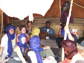 Jacqueline (back row, 2nd from left) and musicians in the desert | Jacqueline McCarthy