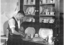 Cutting Bread at the Dresser C1948