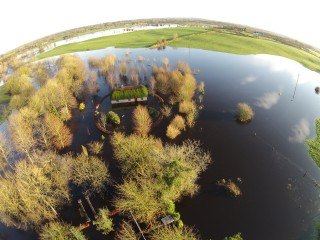Santa's cottage surrounded by flooding | Paul Devaney
