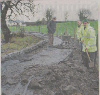 Frank Glynn with Tom Jennings and John O'Donnell, part of the crew who are repairing the riverside walk in Milltown.