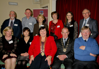 Back L-R: David Collins, Oughterard, TJ Carty, Ballinruane, Frances Holihan, Abbey, Loughrea, Bernadette Forde, Killererin, Pauline Connolly, Milltown, Tony Candon, NMI, Gerry Costello, Skehana. Front: Marie Mannion, HO, GCC, Lorna Elms, Museum of Country Life, Castlebar, Cllr Mary Hoade, Cathaoirleach of GCC, PJ, Major of Moylough, Cllr. Michael Connolly | Courtesy of Gerry Costello
