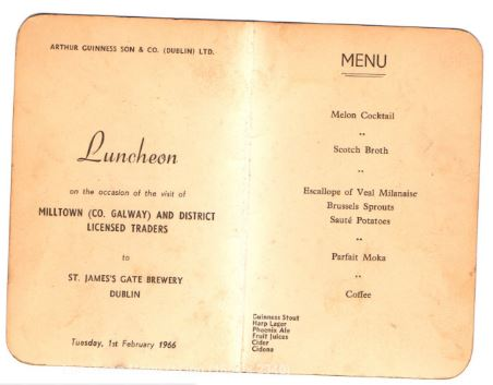 Luncheon menu | Arthur Guinness Son & Co (Dublin) Ltd