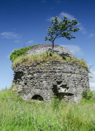 Looking north showing the ice house with a clear blue sky in background | Frank Nevin