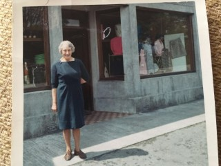 Cissie Raftery, (nee Glynn) outside Raftery's Shop, Woodlawn | Lilian Higgins