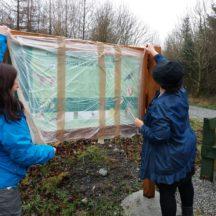 Elaine O' Riordan, Galway Co. Co. & Carrie O'Sullivan, Artist unveil the sign