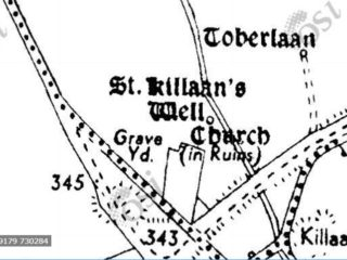 Cassini Map showing location of St. Killaan's Well and Toberlaan in relation to Church and graveyard. | www.archaeology.ie