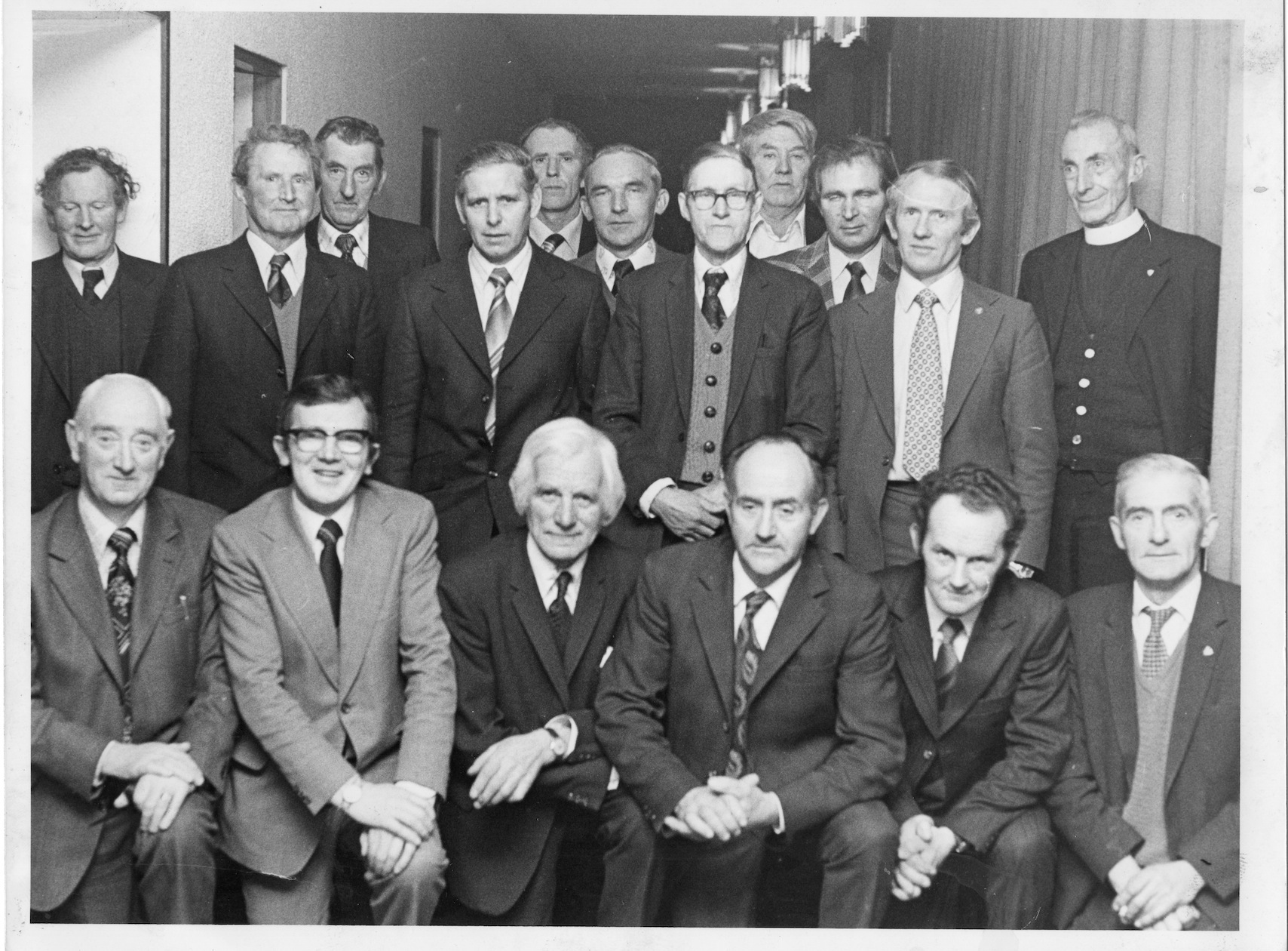 Some members of Abbey Muintir na Tíre – front left to right: Michael Lynch, John Holohan, Connie Donnelly, John Michael Larkin, Naoise Larkin, Gerald Coniry; back left to right: Martin Mullen, Jimmy Kelly, Francis Conroy, Tony Hodgins, Tommie Joynt, Michael Burke, Thomsie Connaire, Martin Kelly, Michael Dervan, Gerard Dolan and Fr O'Reilly PP.