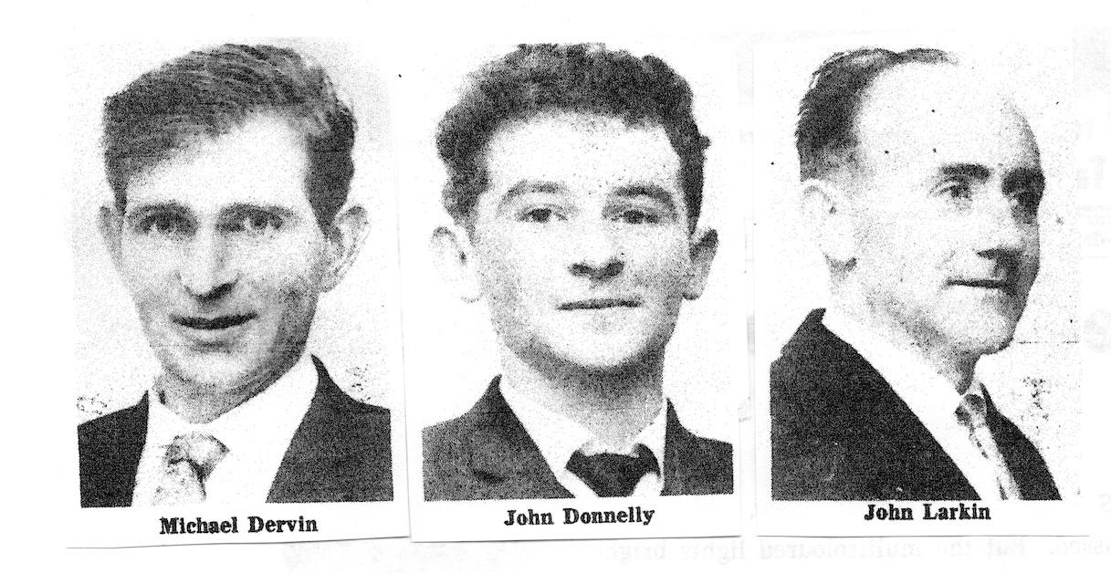 Officers of Muintir na Tire in 1967: Michael Dervan, Chairman; John Donnelly, Secretary; John Michael Larkin, Treasurer