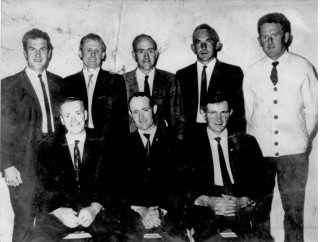 Official opening of Kylemore/Abbey Group Water Scheme, July 1970. Back row L-R: P J Pierce, Michael Dolan, John M Larkin, Michael Burke, Des Lynch. Front row L-R: Bernie Conroy, Vincent McDonagh Secretary, Michael Dervan.