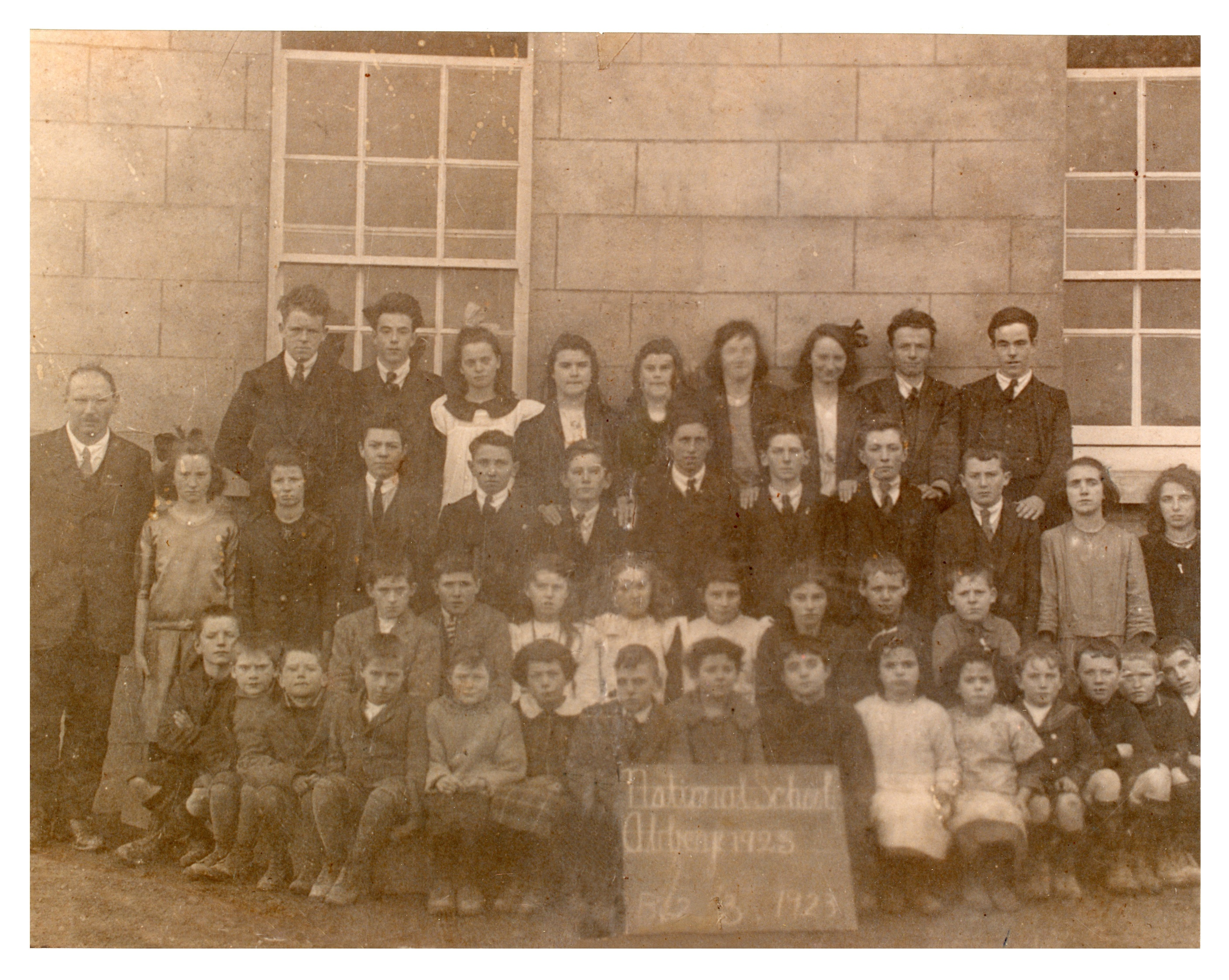 Back Row left to right: Harry Donnelly, Pete Ryan, Annie Abberton, Mary E Kelly, ?, Ellen Finnegan, Bridie Abberton, Bertie Donnelly, Jacko Ryan. Next Row l to r: Master Power, Gretta Abberton, Mary Frances Sullivan, Ned Larkin, Tommie Abberton, Connie Donnelly, Tom Joe Conroy, Pakie Callanan, John Coughlan, Joe Hynes, Mary Anne Watson, Rose Martin. Next Row l to r: ?, Tommy Watson, Katie Madden, Mary Anne Fahy, May Burke, Bab Donnelly, Michael Fahy, ?. Front Row seated l to r: ??? We have four names: Sonny Callinan, Larry Collins, ??? Bridget Kelly and Kathleen Kelly. Photo courtesy John Ryan.