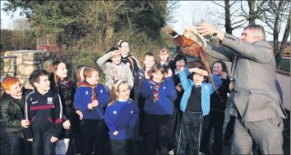 Up, Up and Away … Mayor Michael Maher releases the first of the pheasants at the launch of Abbey's Wildlife Sanctuary to the delight of the pupils of Abbey NS.  | Hany Marzouk