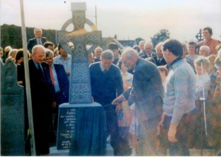 Unveiling of Headstone on Tommy Larkin's grave in Abbey Cemetery by Seán MacBride |