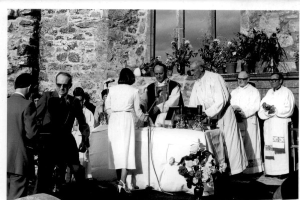 Bishop Cassidy, chief celebrant at Mass in Kilnalahan Monastery on 16 August 1981