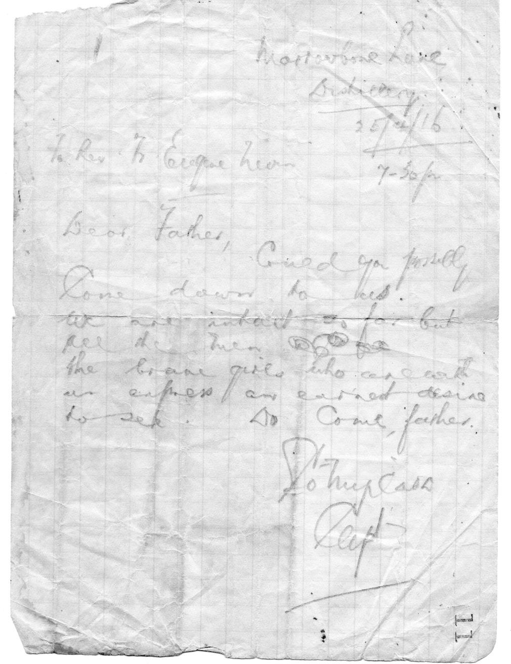 Letter to Fr Eugene dated 25/4/16