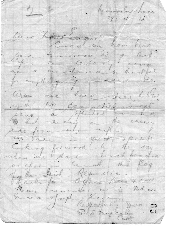 Letter to Fr Eugene dated 29/4/16