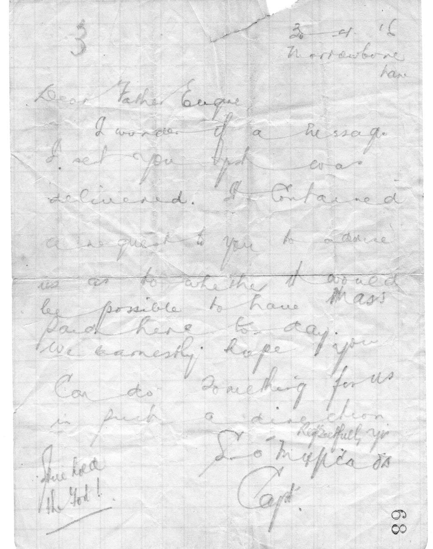 Letter to Fr Eugene dated 30/4/16