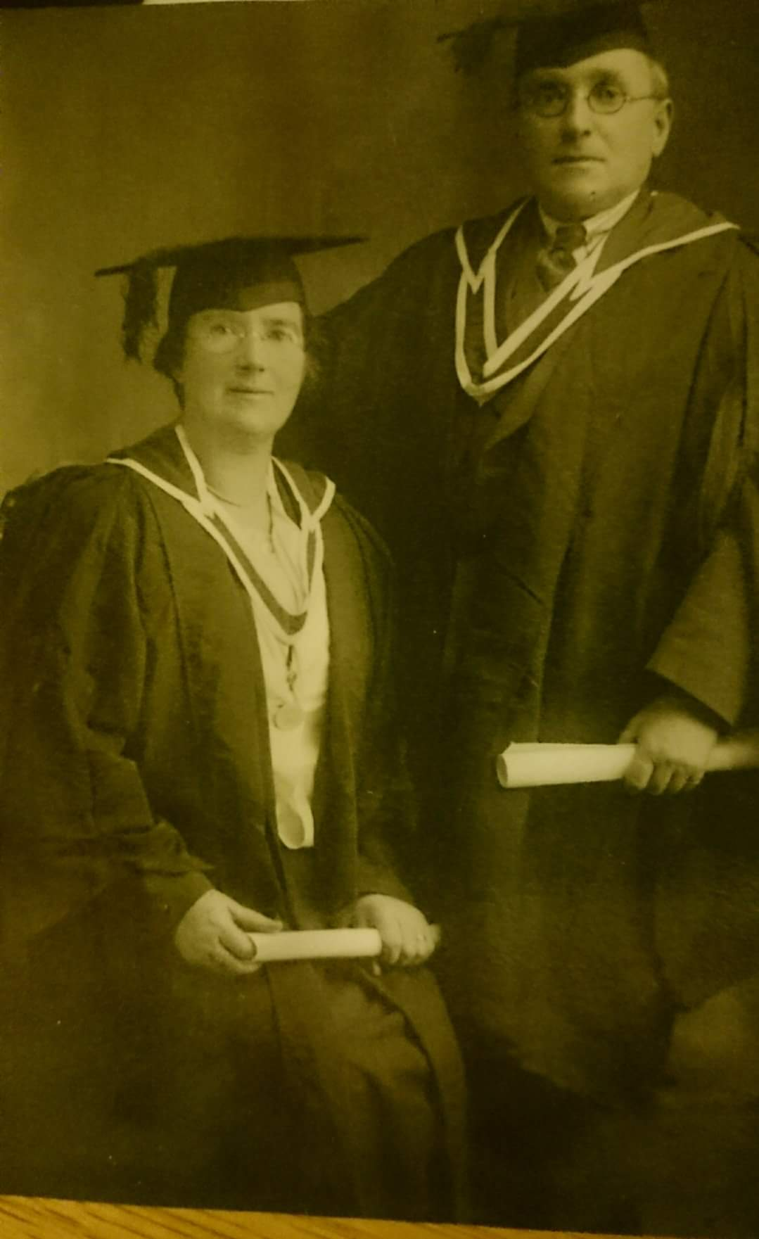 Graduation photo of Mr and Mrs O'Connell, teachers in Duniry National School