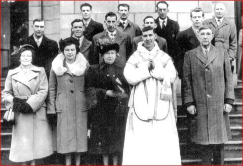 Fr Maurice Conroy's Ordination Back: Jimmy Finn, Pakie Larkin (Kylemore/uncle), Corneilius Larkin (Barnaboy/uncle), Paddy Conroy (brother), John Power (Abbey NS) Middle: William Lynch (Abbeyville), Vincent Conroy (Cousin), Francis Conroy, Willie Conroy (Portumna) Front: Dolly Lynch (Aunt), Lily Moloney, Annette Conroy (mother), Fr Conroy, Pakie Conroy (Father)