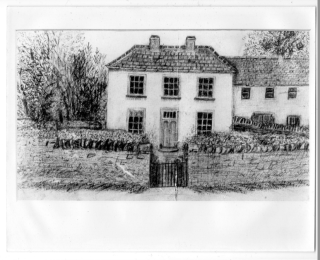 Drawing of Nevin Home Carrowcrin by Sr Justina, sister of Fr Nevin | Photo courtesy: Vera Reilly