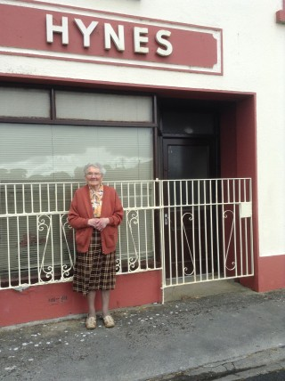 Mrs Nora Hynes outside the closed Post Office in Abbey