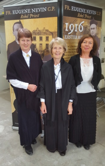 Abbey Heritage ladies, Noreen, Frances and Eileen man over two days at the Fr Eugene Nevin stand at the Mellows event in Athenry.