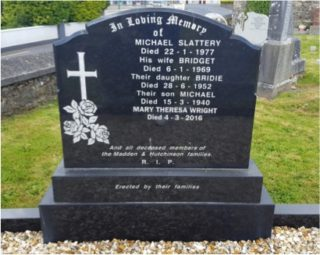 Slattery Headstone in Abbey Cemetery |