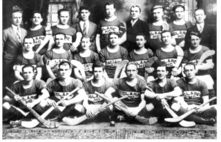 The 1928 Champions of Massachusetts Team.  Front Row shows Paddy 3rd and Michael Hutchinson 5th from left with their friend Frank Turner between them. | Courtesy: Joanie Durgin