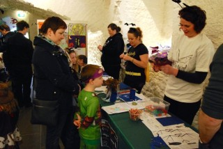 GBG members busy helping make batty arts and crafts at the Halloween Family Fun Event at Aughnanure Castle | Galway Bat Group