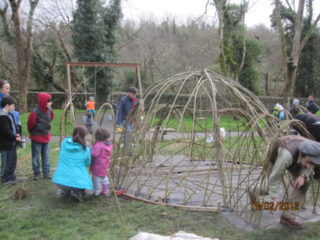Working with the community on a living willow sculpture at Rinville Park | Aine Clarke