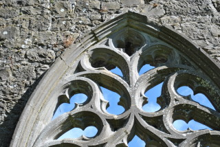 Detail of tracery. Also inscription on centre tracery. | Christy Cunniffe