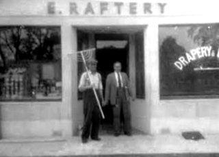 Ted Raftery on right, outside shop in 1950s. | Lilian Higgins