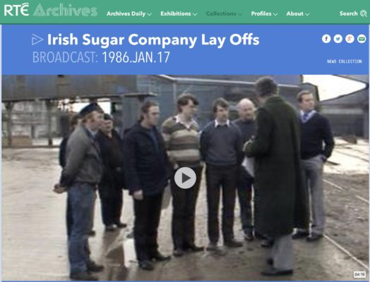 Lay offs at sugar factories in Tuam and Thurles Report shows sugar factories in Tuam and Thurles. Interviews with local representatives and workers on the lay offs. The reporter are Jim Fahy and Michael Ryan.