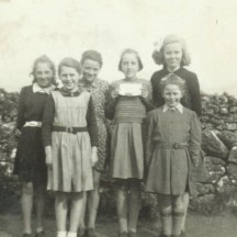 Garra School 1946 L-r: Teresa Fahy, Bridie McGrath, Clogherboy; ? Williams, Clogherboy; Kathleen McHugh, Teresa Mannion (back), Gurrane; and Sr. Damian (front) Garra. | Out and About Magazine 2013