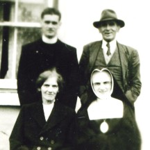 Back row l-r: Fr. Tommy Nicholson and his late father Michael Nicholson R.I.P. Front row l-r: Mary Nicholson (mother) and Sr. Michael Nicholson R.I.P.