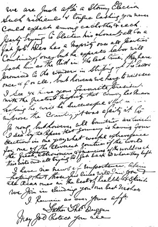 Page 2 of letter to William Duggan from  his father Thomas | Source: copy of letter donated by Grandaughter: Mary Ellen Burke, Gurranecoyle