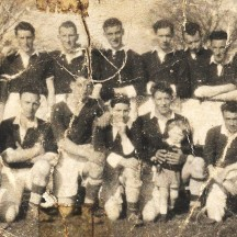 1955 Killerrin football team who were just put together to play the students of Moyne Park in 1955. Back row l-r:Standing looking on is Donie Mullins,.  Team is Patsy Fahy, Billy Fahy, Jack Byrne, Stephen Nicholso, Willie Mannion, Ger Coen, Tommy Kelly, Joe Mannion and Willie Wynn. Front row l-r: Billy Dunleavy, Johnny Mannion, Jack Higgins, Micky Kelly, Tommy Dunleavy, Jimmy Fehilly. | Names and photo courtesy of Joe Mannion USA and original from Paul Mannion, Barbersfort