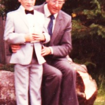 Padraic Joyce on his First Holy Communion day with principal of Barnaderg NS, Sylvester Cassidy | Image: Sylvester Cassidy