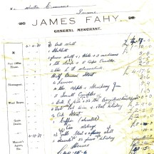 Invoice dated 7th November, 1951 or funeral provisions from James Fahy's shop, Barnaderg | Donated by John Cunnane, Imanemore