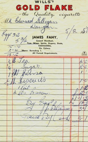 Invoice dated 5th February, 1957 from Fahy's shop, Barnaderg  | Donated by Jimmy Gilligan R.I.P. Dangan