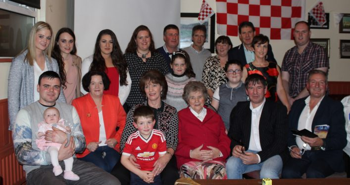 Nora surrounded by her children, grandchildren and great-grandchildren on the occasion of publication of her book Tales from the Past | Photo: Bernadette Connolly for Killererin Magazine Committee