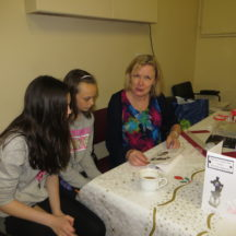 Rebecca and Alina Rooney, Cloondahamper learning how to make greeting cards | Photo: Bernadette Forde