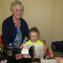 Sarah Ahern, Togher being taught patchwork by Eileen Reynolds, Cloonlusk | Photo: Bernadette Forde