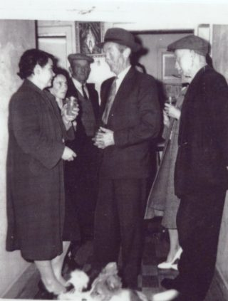 L-r: Madge Reaney, Togher; Chrissie Butler, Togher; Martin Dunleavy, Jack Burke and Thomas Kelly, all of Coolrea (c. early 1950s) | Photo: first appeared in Out and About in Killererin, 2005 P. 108.