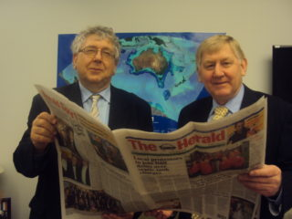 Ferguson brothers in the Australian House of parliament reading The Tuam Herald. Laurie, a junior minister in the present government in Australia is on the left and Martin who is a senior minister in the cabinet is on the right. | Photo: Tom Gilmore, Tuam Herald