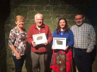 L-r: Committee member Maura Flannery; speakers Jarlath Canney, Old Tuam Society; Elaine O'Riordan, NUIG; and committee member, Frank Smyth.   Photo: Ballyglunin Restoration Committee - courtesy of Mark Gibson