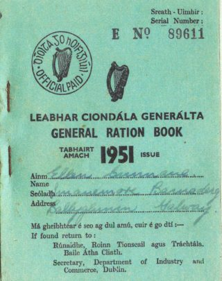 Ration book issued in 1951 to Eileen Cunnane, Imanemore | Photo: courtesy of John Cunnane, Imanemore