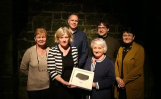 L-r: Committee member, Maura Flannery;  Marie Mannion, Heritage Officer, Galway Co. Council, who was presented with a piece of slate from the roof of Ballyglunin Station; committee member, Mark Gibson; chief organiser, Maria Heneghan;  Colm Murray, Architectural Officer, Heritage Council of Ireland and committee member ? | Photo: Ballyglunin Restoration committe - courtesy of Mark Gibson