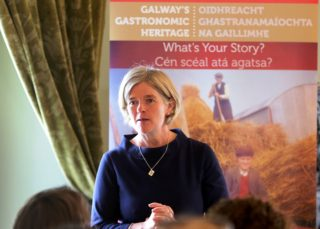Marie Mannion, Heritage Officer speaking in Claregalway Castle at the launch of Galway Gastronomic Heritage Day | Photo: Harry Marzouk