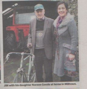 Jim with his daughter Noreen Goode at home in Milltown.