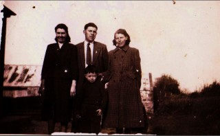 Taken at Carrowntootagh, 1950's. Left to Right: Margaret McGrath (nee Connolly), Eddie Connolly, Monica McLoughlin (nee Connolly), Patrick McGrath | RM